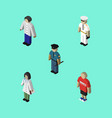 isometric person set of male doctor officer and vector image