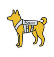 k9 police dog color icon vector image