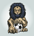 lion aggry play football annimal vector image vector image