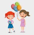 little girls happy characters vector image