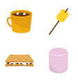 marshmallow smores candy icons set flat style vector image vector image