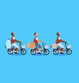mix race couriers men cycling bicycle carrying vector image vector image