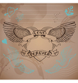 Old-school style tattoo heart with flowers vector image vector image