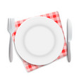 realistic empty plate fork and knife served on vector image