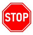 red stop sign on white background flat style red vector image
