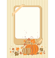 Retro autumn card with pumpkin vector image vector image