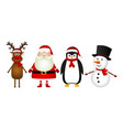 santa claus with reindeer snowman and funny vector image vector image