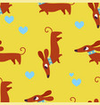 seamless pattern with dachshund and hearts vector image vector image