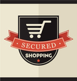 Secured shopping badge vector image vector image