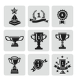 set black trophy and awards icons vector image vector image
