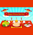 set food on table for chinese new year vector image