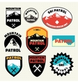set ski patrol mountain badges and logo patches vector image
