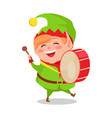 smiling happy elf playing drum musical instrument vector image