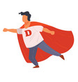 super hero character boy wearing red cape vector image