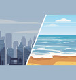 template for advertising two landscapes to compare vector image vector image