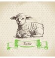 Vintage easter background with lamb vector | Price: 1 Credit (USD $1)