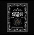 vintage frame border western label hand drawn vector image vector image