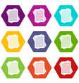 vintage lined papers icon set color hexahedron vector image vector image