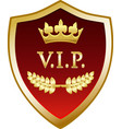 vip gold shield vector image vector image