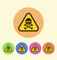 warning sign flat style round colored icons vector image vector image