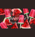 watercolor ice cream and watermelon summer vector image vector image