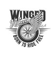 wheel on wing motorcycle racers or motor races vector image