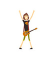 young musician standing with guitar and showing vector image vector image