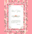 flowers poster template pink blossoms vintage vector image