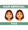 hair removal from face promotional poster with vector image