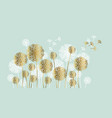 abstract white and gold summer dandelion motif vector image vector image