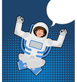 Astronaut meditates in a pop art style Bubble for vector image