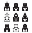 black and white icons of church buildings vector image