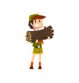 boy carrying a bundle of firewood boy scout vector image vector image