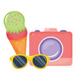 camera photographic with ice cream and sunglasses vector image