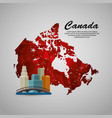 canadian cityscape scene and map vector image vector image