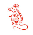 chinese mouse in traditional paper cut style vector image vector image