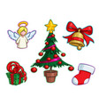 christmas icon set - angel tree gift bell stocking vector image