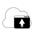 cloud computing upload in black and white vector image vector image
