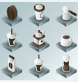 coffee color gradient isometric icons vector image vector image