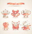 cute characters robot set origami by triangles vector image vector image