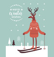 cute deer in knitted sweater skiing vector image