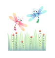 cute dragonflies flying vector image vector image