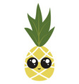 cute pineapple on white background vector image vector image