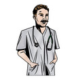 doctor male with stethoscope and mustache vector image vector image