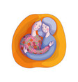 drawing of hugging young woman and old lady vector image