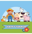 Farmer and farm animals set vector image vector image