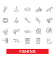 fishing boat rod yachting hook fish fisherman vector image