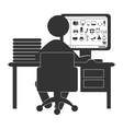 Flat computer icon with online shop isolated on vector image vector image