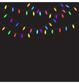 Glowing Christmas Lights Flat design Black vector image