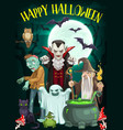 halloween ghost vampire zombie and wizard vector image vector image